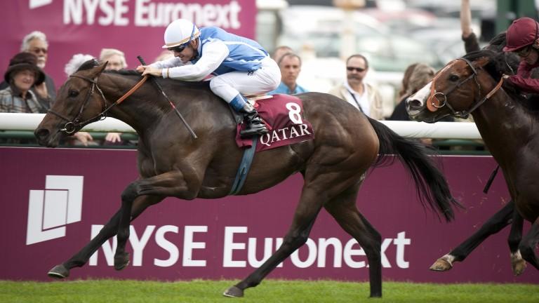 Goldikova lands the 2010 Prix de la Foret under a daring ride from Olivier Peslier