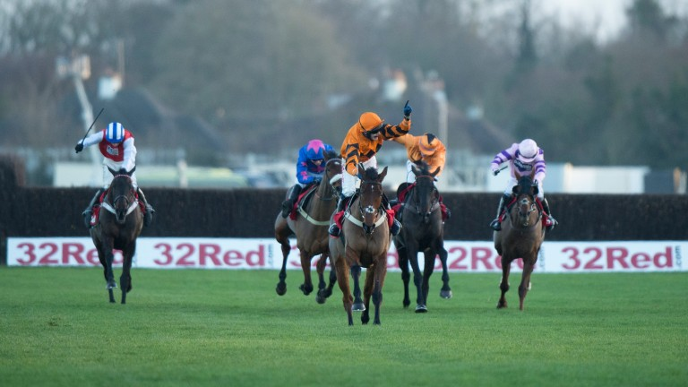 Tom Scudamore celebrates as Thistlecrack eases home clear in the 32Red King George VI Chase at Kempton