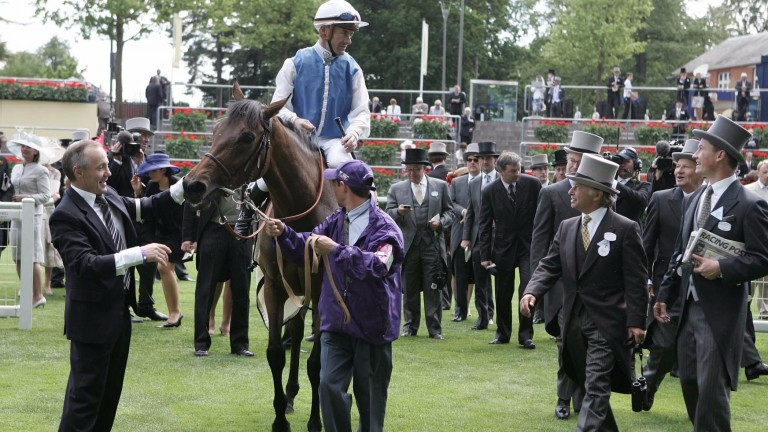 Queen Anne Stakes 2010: (L-R) Regis Barbedette, Olivier Peslier on Goldikova, Thierry Blaise (in purple), Freddy Head and Pierre-Yves Bureau (carrying paper), with Alain and Gerard Wertheimer behind