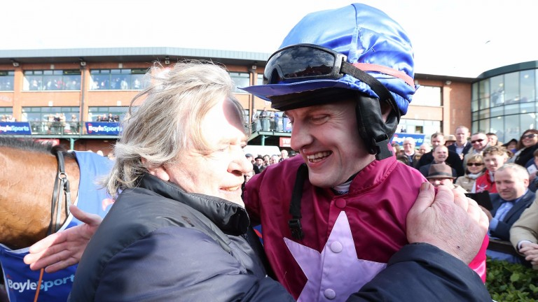 Scenes of emotion: Mouse Morris with Ger Fox after the 2016 Irish Grand National triumph with Rogue Angel