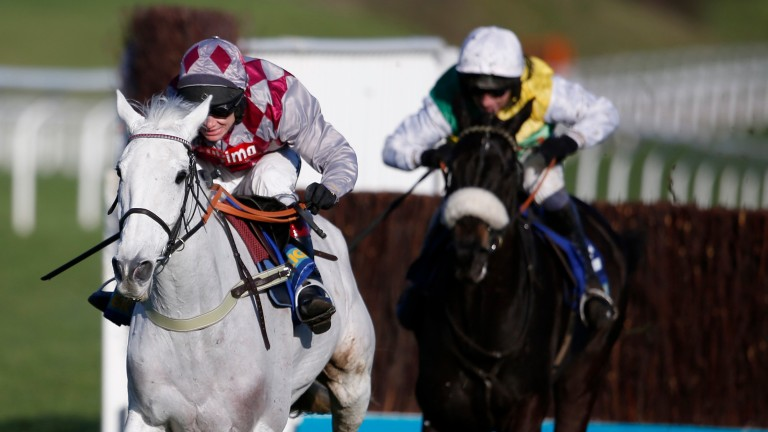 Smad Place and Richard Johnson show Many Clouds the way home in last year's Cotswold Chase