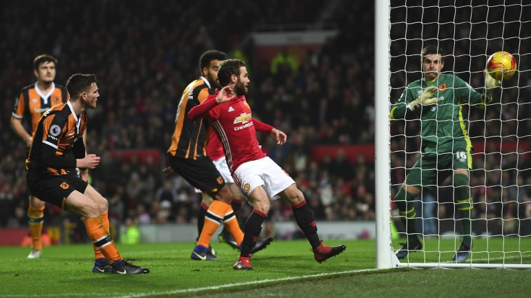United's Juan Mata scores against Hull