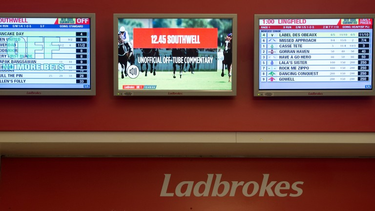 Racing coverage was absent from the screens in the Ladbrokes' betting shop at Lingfield