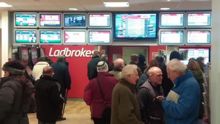 A busy day for Southwell's Ladbrokes shop, which has now ceased trading for the foreseeable future