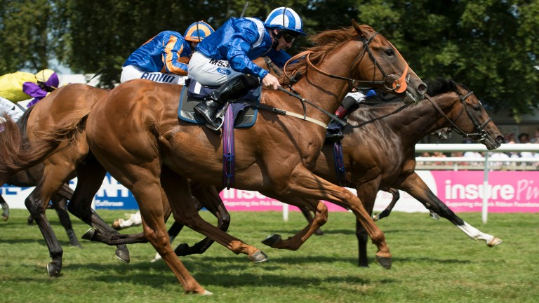 Anjaal on his way to winning the July Stakes at Newmarket