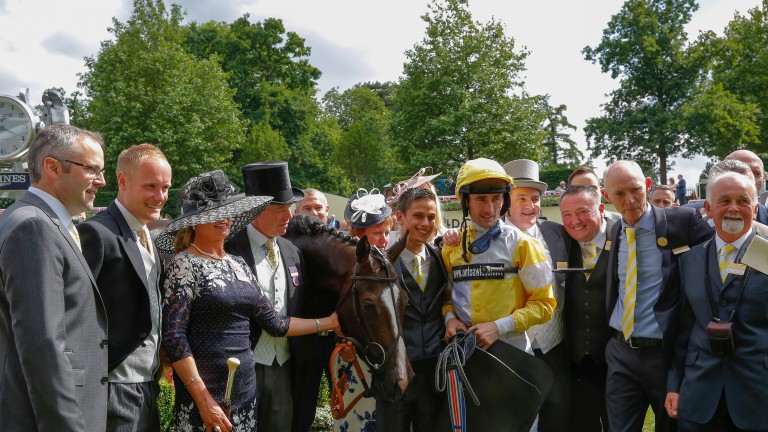 The Ontoawinner syndicate celebrate Queit Reflection's Commonwealth Cup win at Royal Ascot