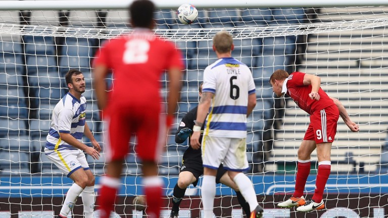 Adam Rooney scores for Aberdeen against Morton in the Betfred Cup