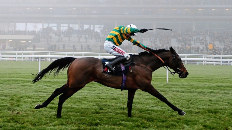 Unowhatimeanharry gallops through the Ascot mist to win the Long Walk Hurdle