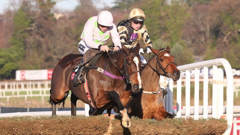 Vroum Vroum Mag (nearside) - has only a 5lb penalty for her win in a Grade 1 at Leopardstown last time