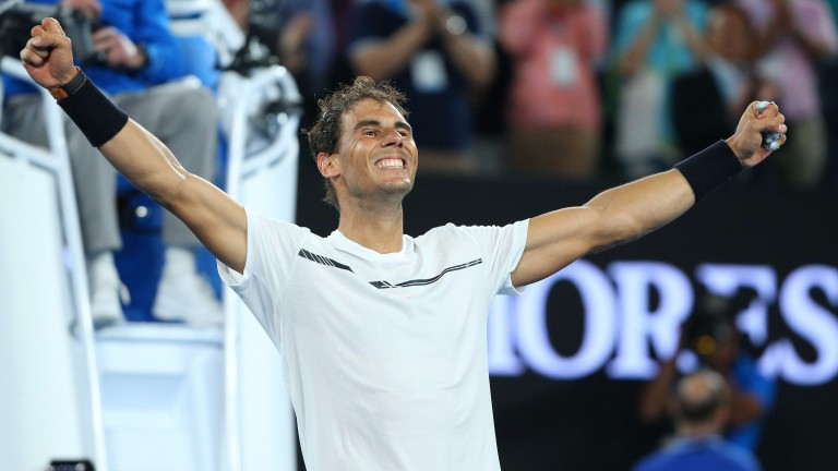 Rafael Nadal celebrates his victory over Grigor Dimitrov