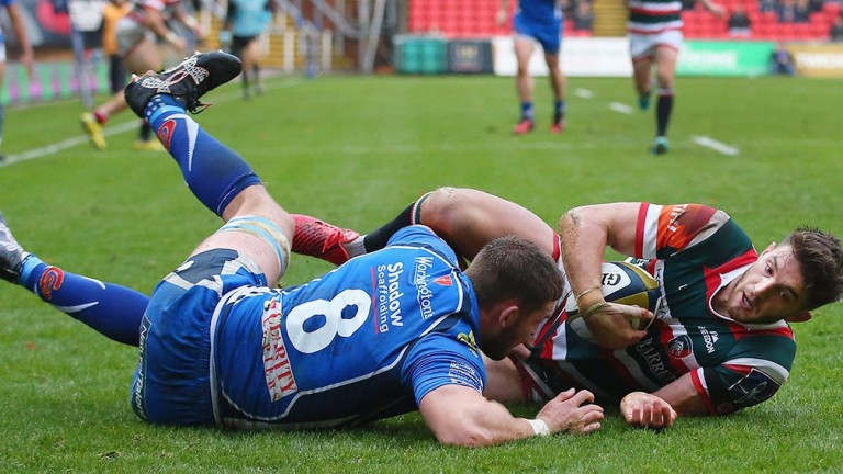 Leicester fly-half Owen Williams slides in for the first try in their 42-3 win over Dragons in November
