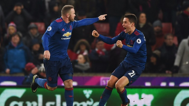 Wayne Rooney (left) celebrates with Ander Herrera