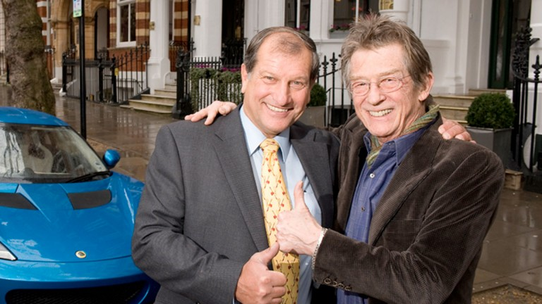 Sir John Hurt (right) with jockey Bob Champion, who Hurt played in the film Champions