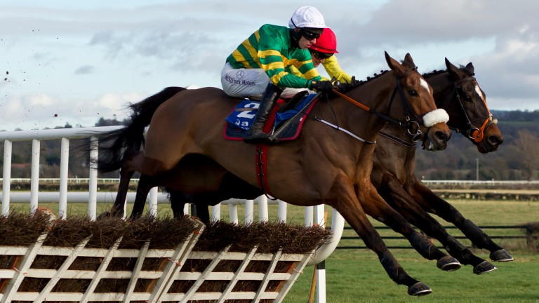 Sutton Place jumps the last in front in winning the Limestone Lad Hurdle at Naas most impressively