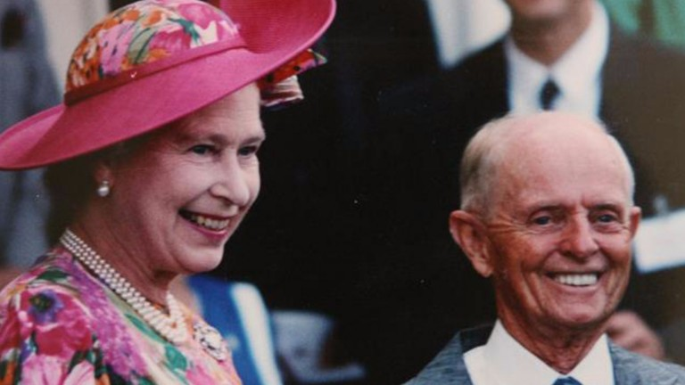Edgar Britt with the Queen: the Australian great spent 15 years in Britain and won all the domestic Classic except the Derby