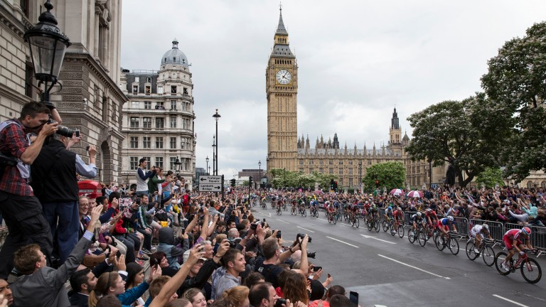 Crowds enjoy a stage of the Tour de France in London in 2014. Bicycles could be replaced by racehorses under ambitious new plans