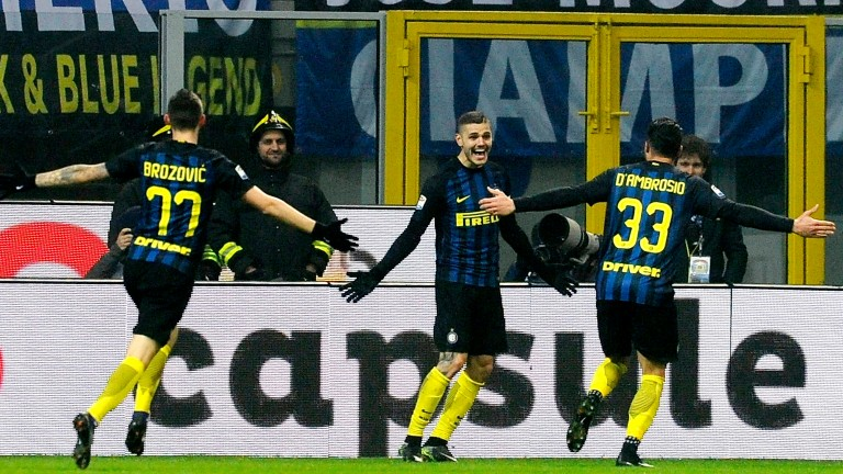Inter celebrate a goal in their recent league win over Lazio