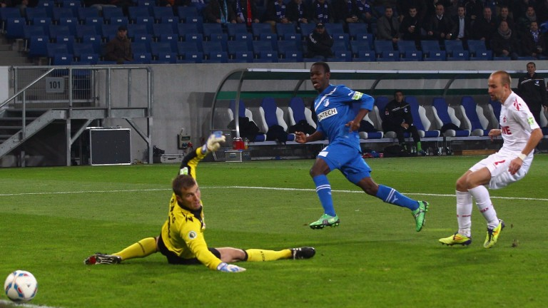 Striker Knowledge Musona (seen scoring for Hoffenheim) could return for Oostende