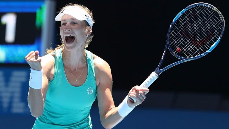 Ekaterina Makarova celebrates beating Dominika Cibulkova in Melbourne