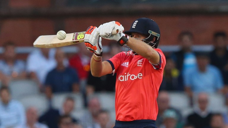 Joe Root plays a ramp shot to a bouncer in a T20 last summer
