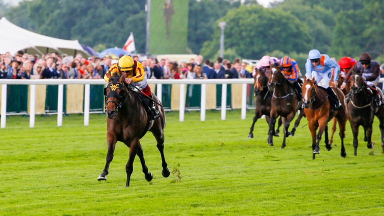 Lady Aurelia: surges clear of her opposition in the Group 2 Queen Mary Stakes at Royal Ascot