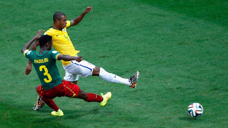 Nicolas N'Koulou of Cameroon in World Cup action against Brazil