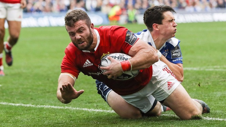 Jaco Taute scores a try for Munster against Leinster