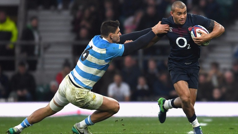 Jonathan Joseph slips away from the Argentina defence in November