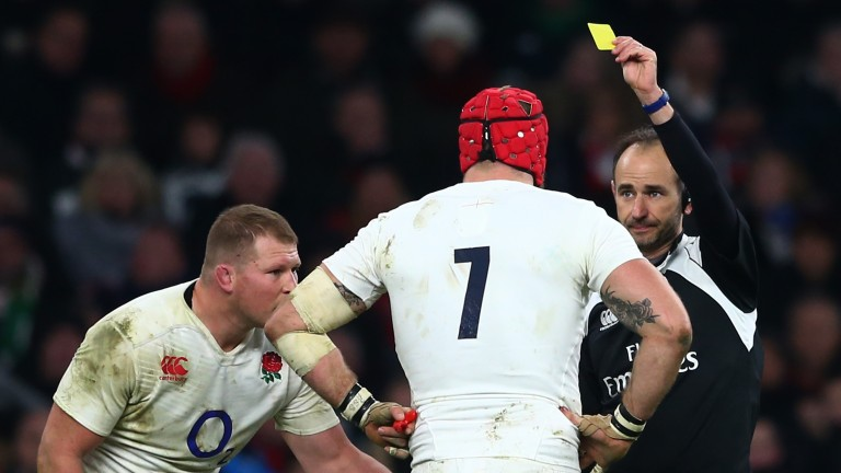 England's James Haskell is shown a yellow card against Ireland last year