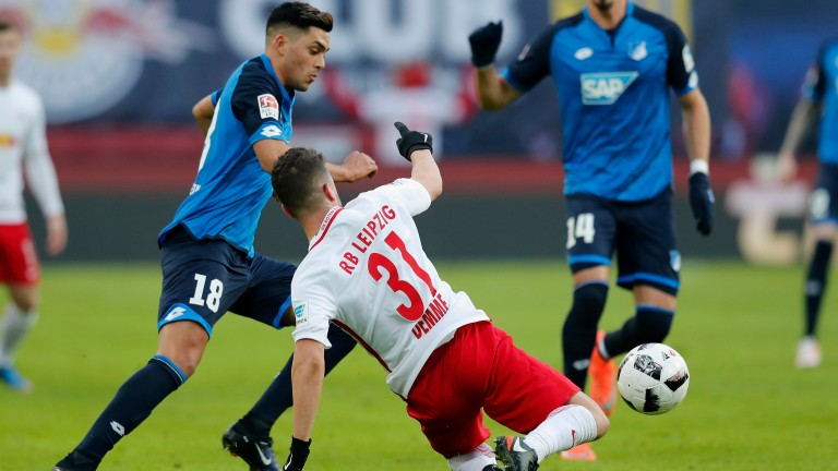 Hoffenheim's Nadiem Amiri is tackled by Leipzig's Diego Demme