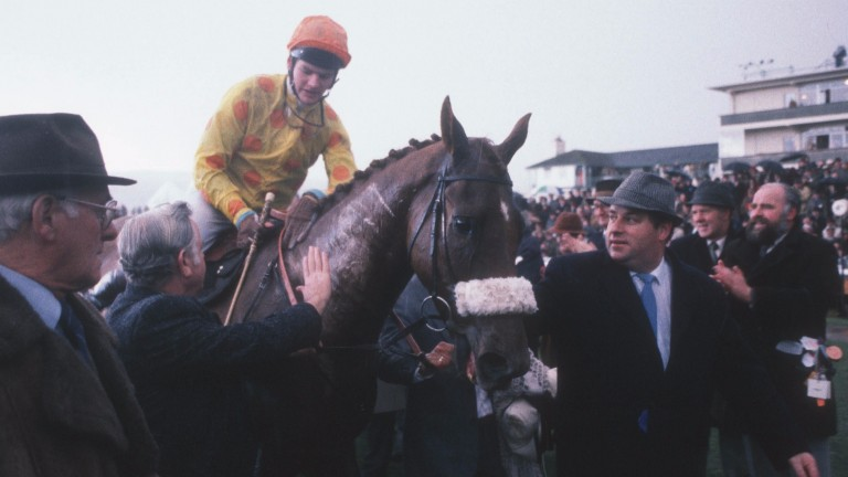 Owner Tim Kilroe leads in Cheltenham Gold Cup winners Forgive'n Forget and Mark Dwyer