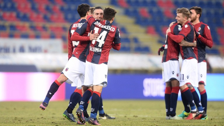 Bologna celebrate goal against Torino