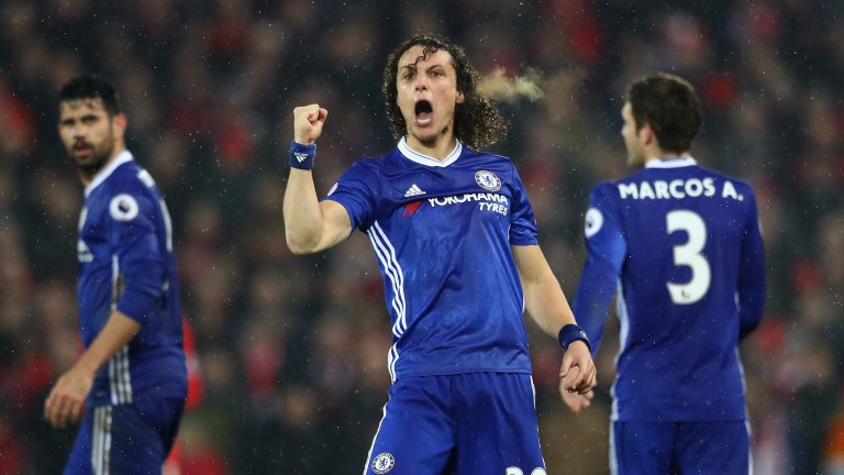 David Luiz celebrates his goal at Anfield