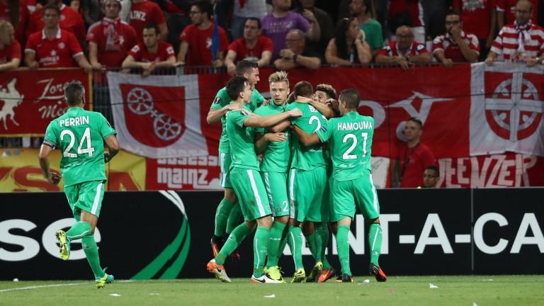 Saint-Etienne celebrate a Europa League goal against Mainz