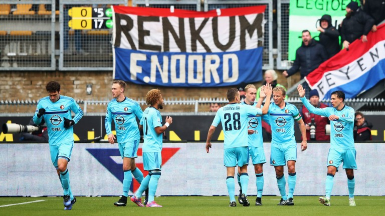 Feyenoord celebrate after a Dirk Kuyt goal