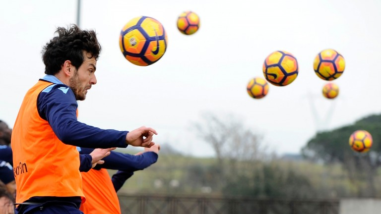 Marco Parolo during a Lazio training session