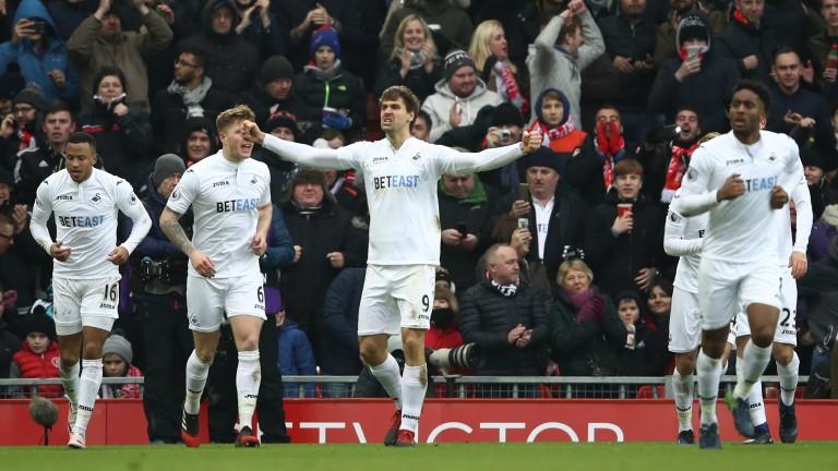 Swansea's leading scorer Fernando Llorente celebrates at Anfield