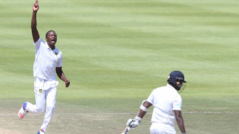 Kagiso Rabada celebrates one of his ten wickets in last month's Cape Town Test