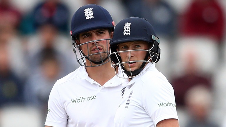 Joe Root (right) is expected to take over from Alastair Cook as England Test captain