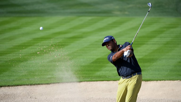 Anirban Lahiri plays his way out of a bunker in Dubai