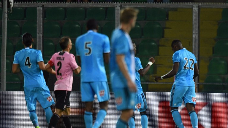 Olympique Marseille  score a penalty in a friendly against Palermo