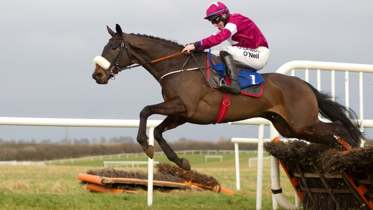 Champagne Classic and Jack Kennedy on their way to victory in the maiden hurdle at Thurles