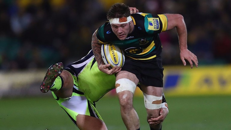 Teimana Harrison displays his tenacity for Northampton against Sale
