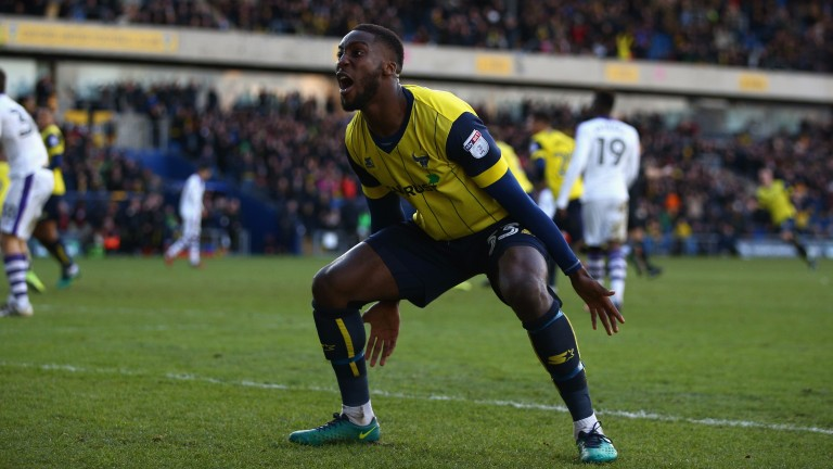 Chey Dunkley celebrates scoring for Oxford against Newcastle