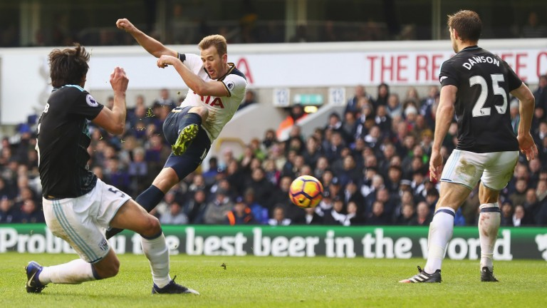 Tottenham's Harry Kane takes a shot