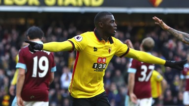 M'Baye Niang celebrates scoring for Watford