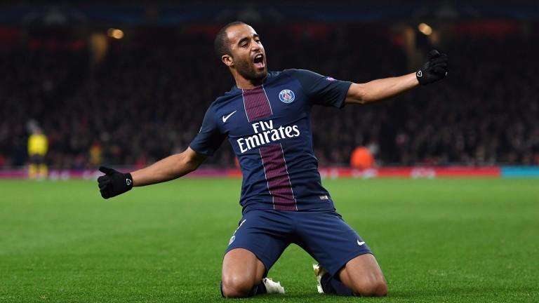 PSG's Lucas celebrates scoring against Arsenal in the Champions League