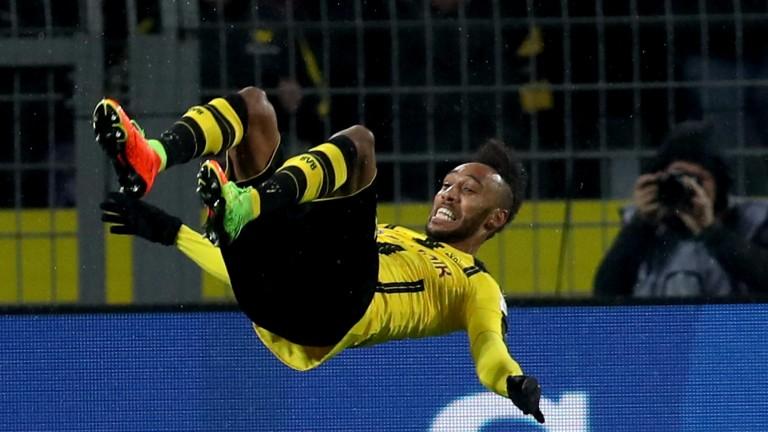 Borussia Dortmund's Pierre Emerick Aubameyang celebrates against Leipzig