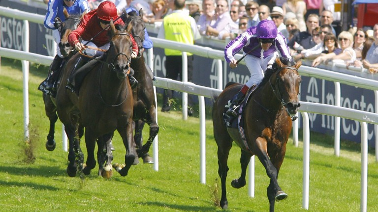 Fame And Glory beating Sariska (left) in the 2010 Coronation Cup at Epsom