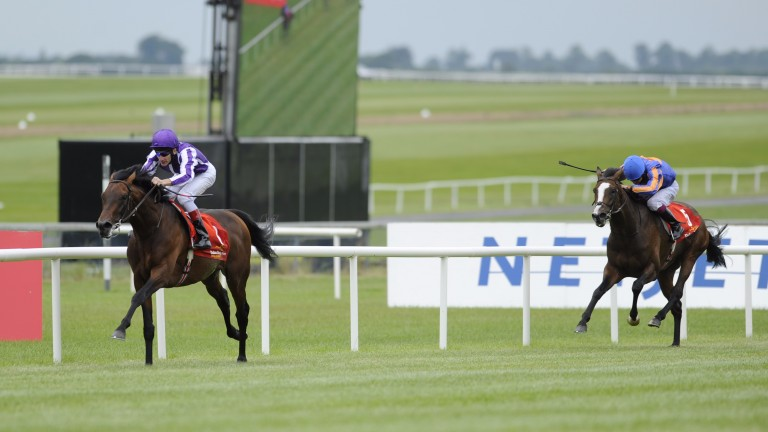 Fame And Glory (left) runs his rivals ragged in the 2009 Irish Derby